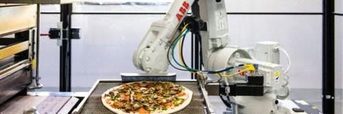 Robôs fazendo pizza. É real.